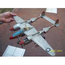 Avion Caza P-38 Escala-1.35 52 Cm Alas P 45 Cm. Larg. Plast