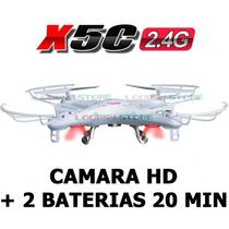 Drone Cuadricoptero Syma X5c Cámara Hd + 2 Baterias 20 Min!!