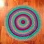 Alfombra Tejida Al Crochet Multicolor Con Flor