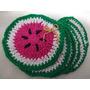Set X 6 Posavasos Sandia Al Crochet