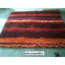 Alfombra Crochet Con Flecos De Totora. 50 Cm X 50 Cm.