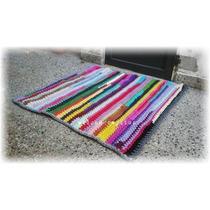 Alfombra Crochet Totora Multicolor 1mt X 1mt
