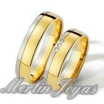Par Alianzas Oro Blanco Y Amarillo 18k C/circon -13 Gramos-