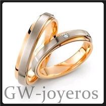 Alianzas De Oro 10grs El Par Con Diamante