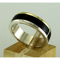 Par De Alianzas Casamiento Plata Ebano Oro 14 K, Oferta!!