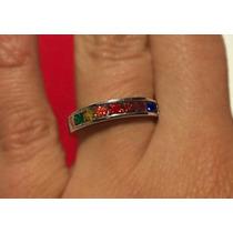 Anillo Diseno Rainbow Plata 925 De Colores Unicos