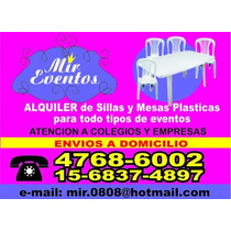 Alquiler De Sillas, Mesas Plasticas, Para Adultos E Infantil