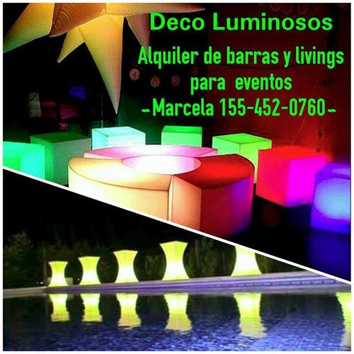 Alquiler muebles luminosos barras puffs livings led for Alquiler muebles para eventos