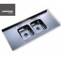 Mesada Acero Johnson Inoxidable 160 X 61 Cm Bacha Doble 1.60