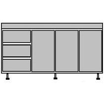 Bajomesada 1.60 Metro Borde Aluminio
