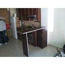 Desayunador Barra, 1,50 X 40, Mueble Con 2 Estantes