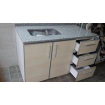 Mueble De Cocina De 1.20 Con Mesada Gris Mara Y Bacha