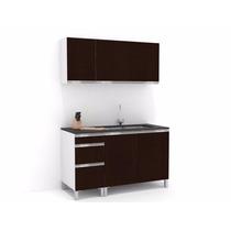Mueble De Cocina 1,40 Wengue Mts Manijas J Aluminio Melamina