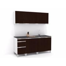 Mueble De Cocina 1,80 Mts Wengue Manijas J Aluminio Melamina