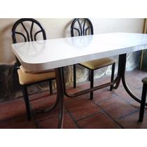 Mesa De Cocina Trampa (caño Y Laminado) + 4 Sillas Tapizadas