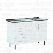 Mueble Bajo Mesada Cocina 1.20mts Con Bacha Blanco Mosconi