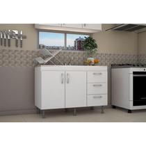 Mueble De Cocina Bajo De 1.20 Con 3 Cajones Blanco
