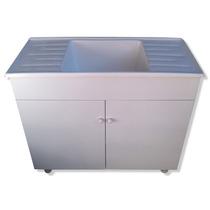 Mueble Lavadero Mdf + Pileta 100 1 Metro 48 Cm Fibra Mesada