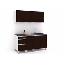 Mueble De Cocina 1,60 Wengue Mts Manijas J Aluminio Melamina