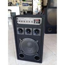Bafle Potenciado Con Entradas 1 Mic Pc Mp3 Usb Radio Fm