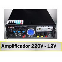 Amplificador Usb/sd/fm/ 2 Entradas Microf - 12v / 220v C/rem
