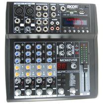 Mixer Moon Mc602usb 6 Ch 16 Efectos Digitales Lector Usb, Sd