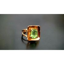 Anillo Francés Con Piedra Verde