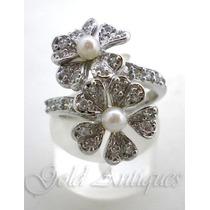 Delicado Anillo De Plata 925-oro Perlas Naturales Y Zafiros