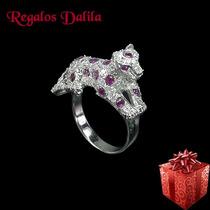 Anillo Plata 925 Rod. Pantera Rubies Naturales Y Cubics!