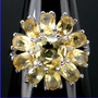 A054-17mm¡ Solo Divas! Anillo Plata925 Oro Citrino Amarillo