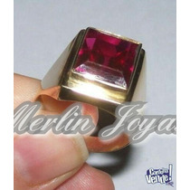 Anillo Sello De Oro 18k Con Piedra Rubi-6 Gramos-merlinjoyas
