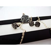 Conjunto Plata 925 Flor Rosa Anillo+aros+dije+cadena