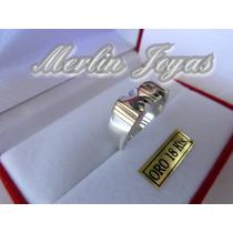 Anillo Plata Fina 950 Y Oro 18k Doble Inicial - M. J. -