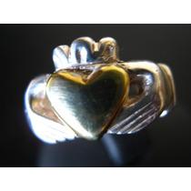 Celta.anillo Amor Amistad Compromiso Plata Y Corazon Dorado
