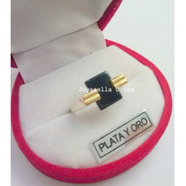 Anillo Plata Y Oro Con Onix