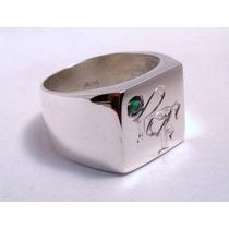 Anillo De Sello Cuadrado Hombre Plata 925 Grabado Con Piedra