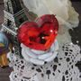 ¡ Vintage! Inmenzo Anillo Forma Corazón Rojo Facetado ¡ Div