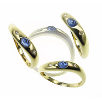 Anillo Wave - Oro Zafiro Y Diamantes - Free Watch Jewellry