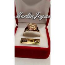Anillo Sello Cuadrado Con Logo - Oro 18k - 4 Gramos - M. J