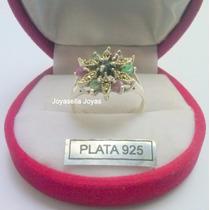 Hermoso Anillo Plata 925 Con Piedras Naturales Y Marquesitas