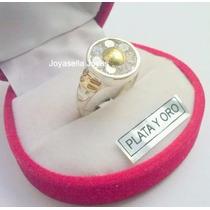 Anillo Plata Y Oro Con Piedras Tipo Flor. Hermoso