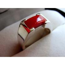 Anillo Plata 925 Y Coral Diseño Philippe Starck, En Estuche