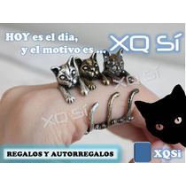 Xqsí Anillo Diseño Gato Abrazadedo Ajustable Regalo Navidad