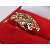 Anillo Fantasy Gold Serpiente Con Cubics, Nuevo En Estuche
