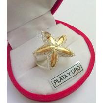 Anillo Estrella De Mar En Plata Y Oro Con Cubic. Hermoso!!