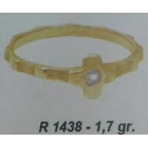 Anillo Cruz Cintillo Oro 18k / Compromiso / Solitario