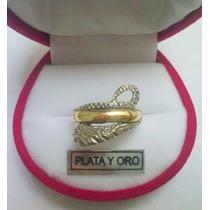 Anillo Serpiente Amuleto Plata Y Oro Con Piedra En Los Ojos!