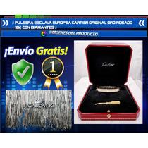 Pulsera Esclava Europeo Oro Rosado 18k Con Diamantes