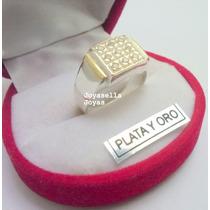 Anillo De Plata Y Oro Con Cubic Engarzado Cuadrado