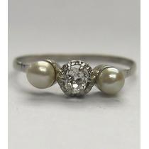 Antiguo Anillo Frances Oro Macizo 18k Brillante Puro Perlas